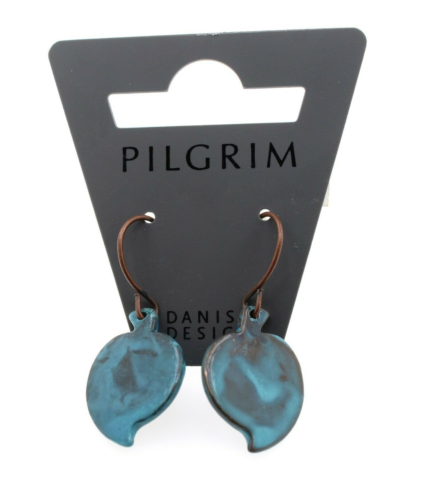 PILGRIM - Patina - Small Leaf Earrings Style 1 - Fired Blue/Copper BNWT