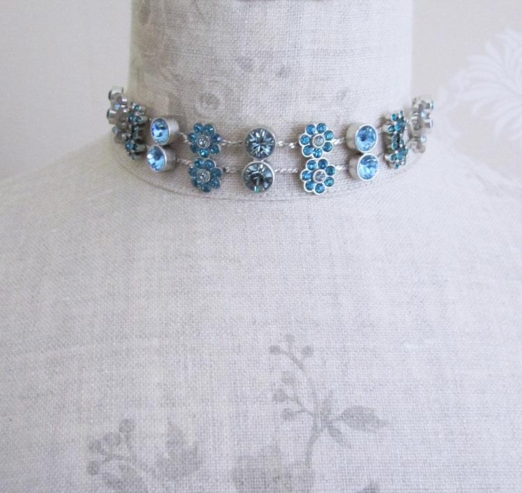 PILGRIM - Flower Jewels - Collar Necklace - Blue Swarovski/Silver Plate BNWT