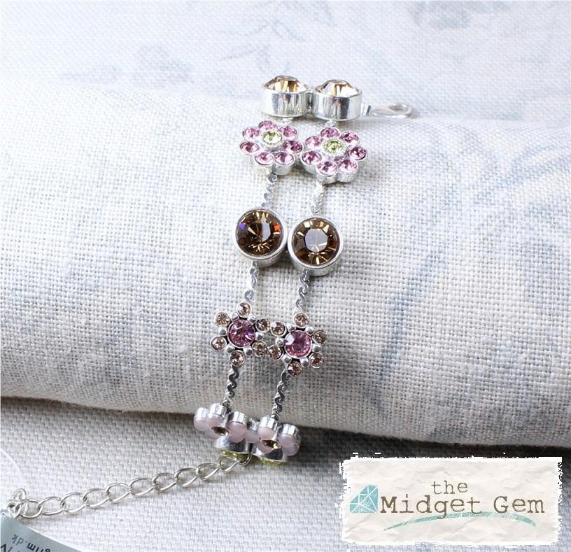 PILGRIM - Flower Jewels - Double Row Bracelet - Pink Swarovski/Silver Plate BNWT