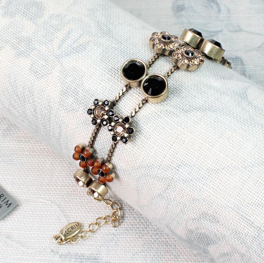 PILGRIM - Flower Jewels - Double Row Bracelet - Brown Swarovski/Gold Plate BNWT