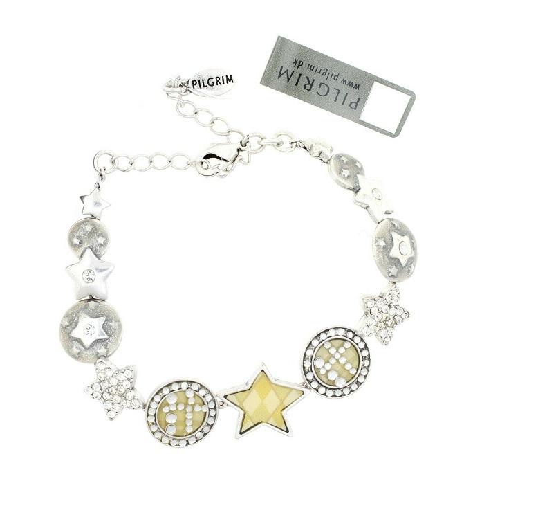 PILGRIM - HEART STAR & KEY - Bracelet - Silver/Cream/Clear - BNWT