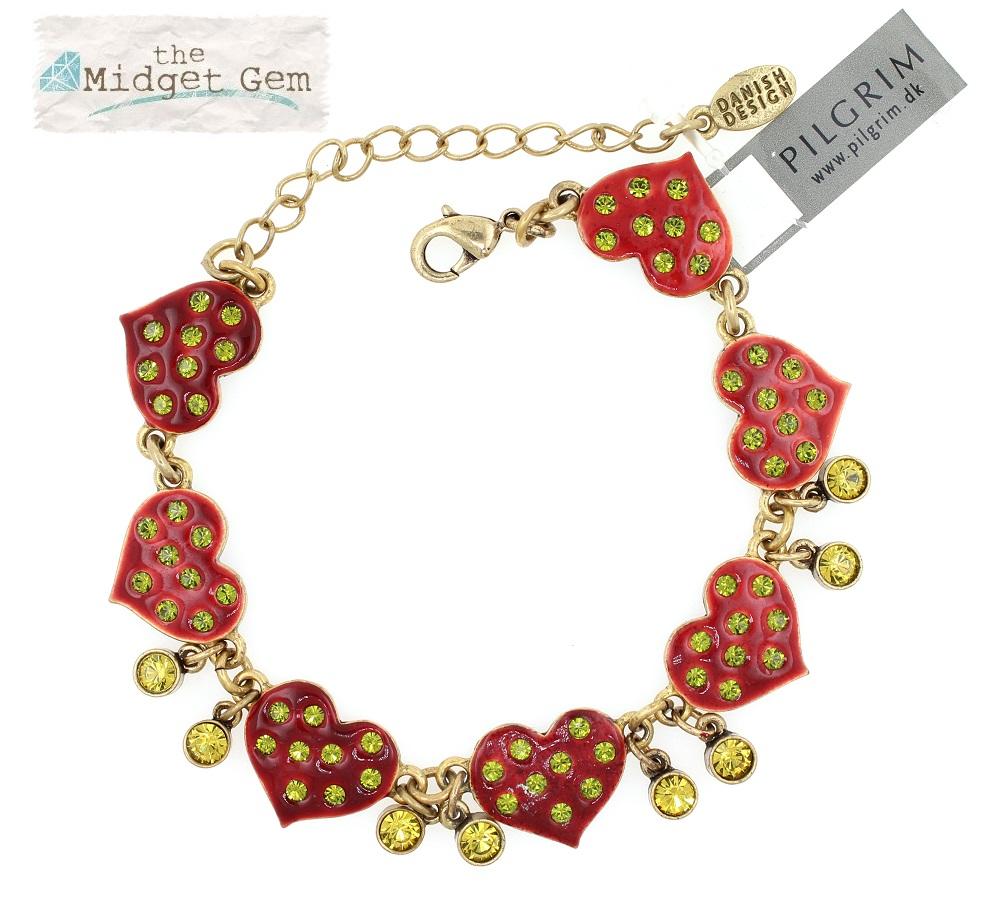 PILGRIM - HEART STAR & KEY - Hearts Bracelet - Gold/Burgundy/Green  - BNWT