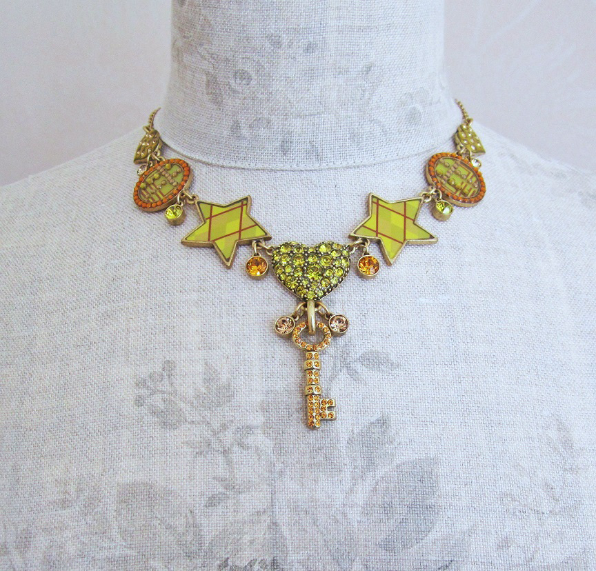 PILGRIM - HEART STAR & KEY - Necklace - Gold/Amber/Green - BNWT
