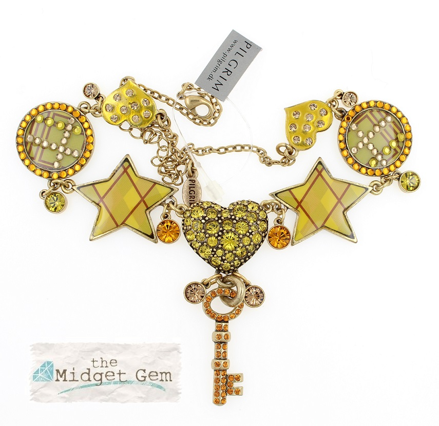PILGRIM - HEART STAR & KEY - Necklace - Gold/Amber/Green - BNWT
