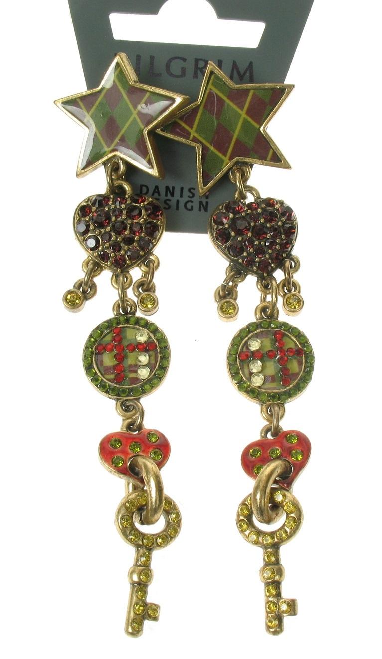 PILGRIM - HEART STAR & KEY - Earrings - Gold Plate/Burgundy/Green - BNWT