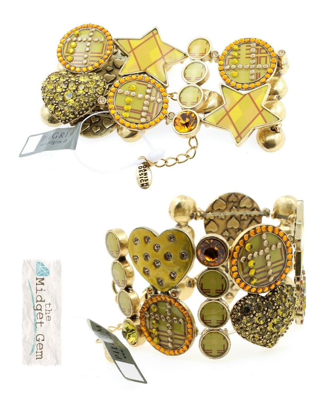 PILGRIM - HEART STAR & KEY - Wide Bracelet - Gold/Amber/Green - BNWT