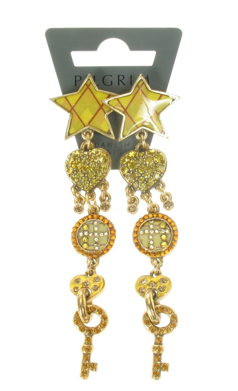 PILGRIM - HEART STAR & KEY - Earrings - Gold Plate/Amber/Green - BNWT