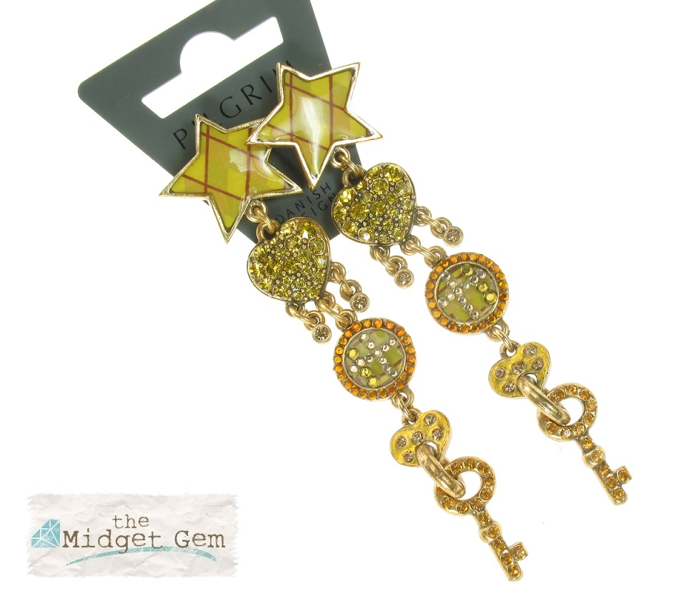 PILGRIM - HEART STAR & KEY - Earrings - Gold Plate/Amber/Green - BNWT