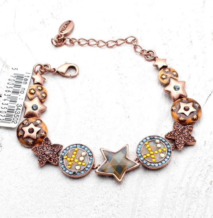 PILGRIM - HEART STAR & KEY - Bracelet - Copper/Blue - BNWT