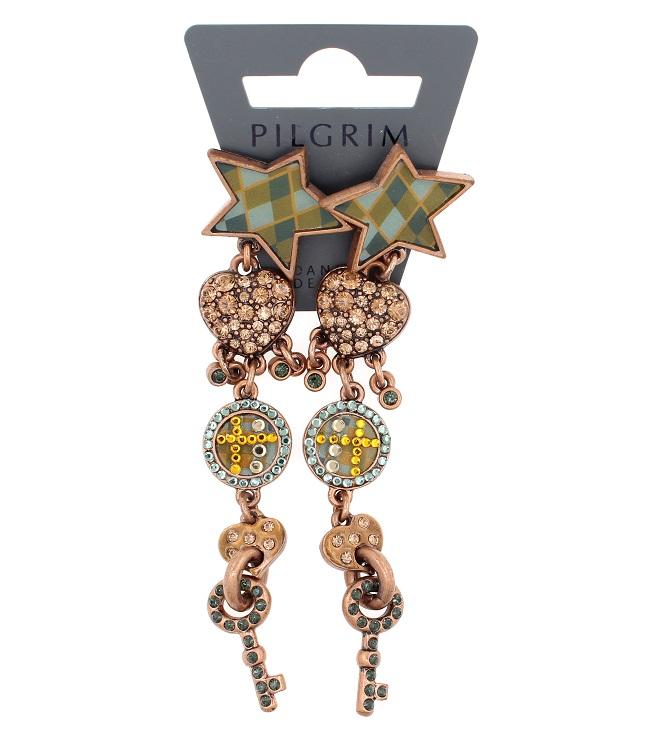 PILGRIM - HEART STAR & KEY - Earrings - Copper Plate/Blue - BNWT