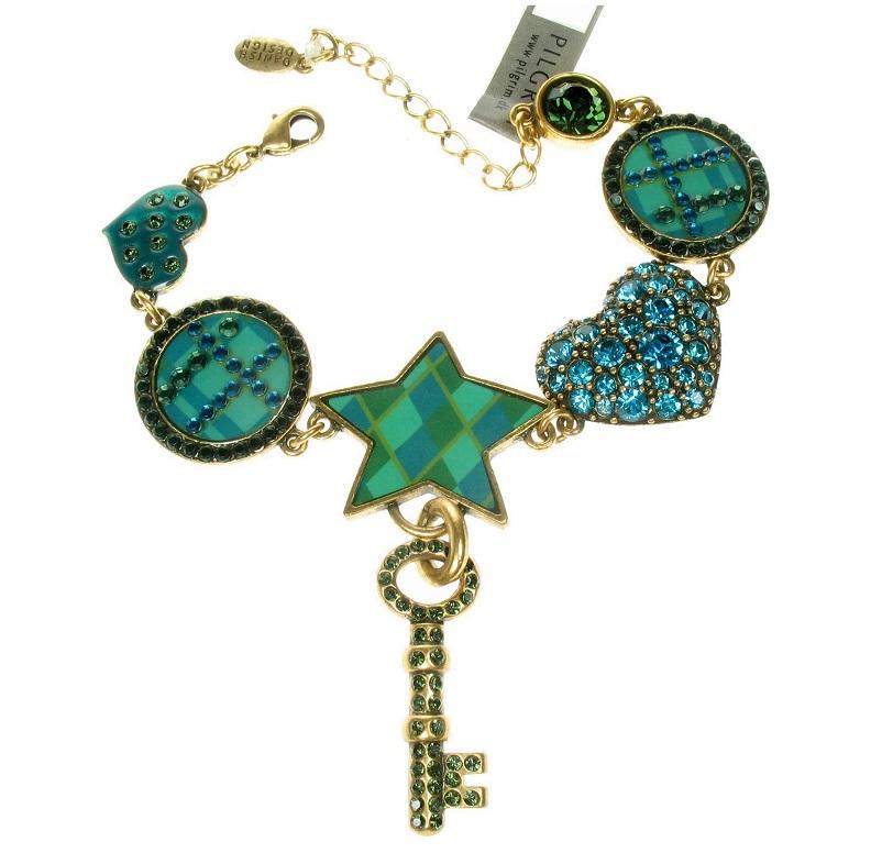 PILGRIM - HEART STAR & KEY - Bracelet - Gold/Turquoise - BNWT