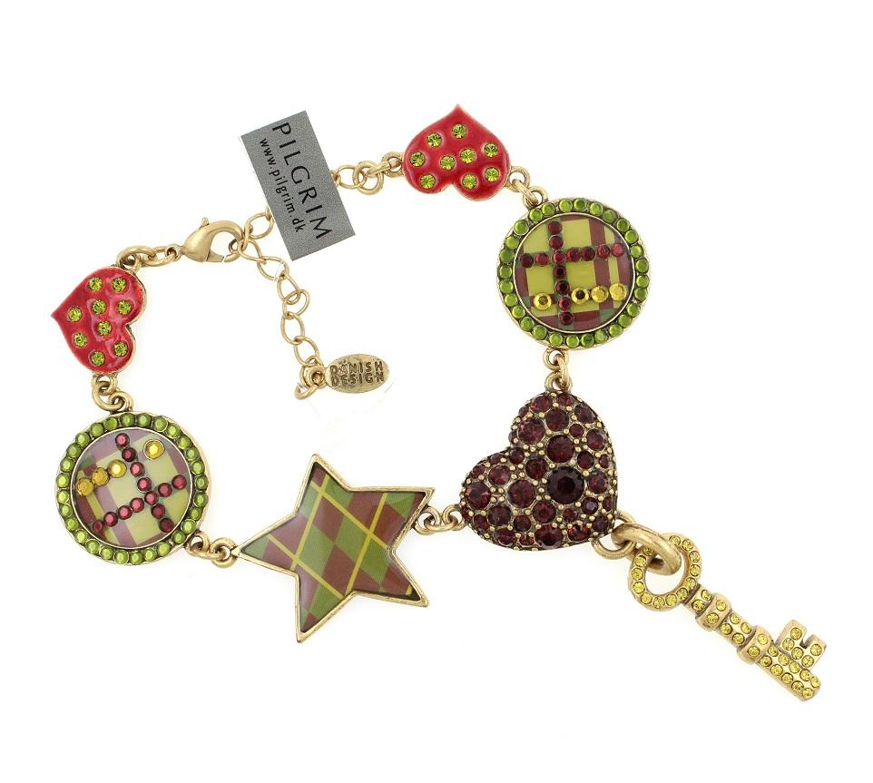 PILGRIM - HEART STAR & KEY - Bracelet - Gold/Burgundy/Green - BNWT