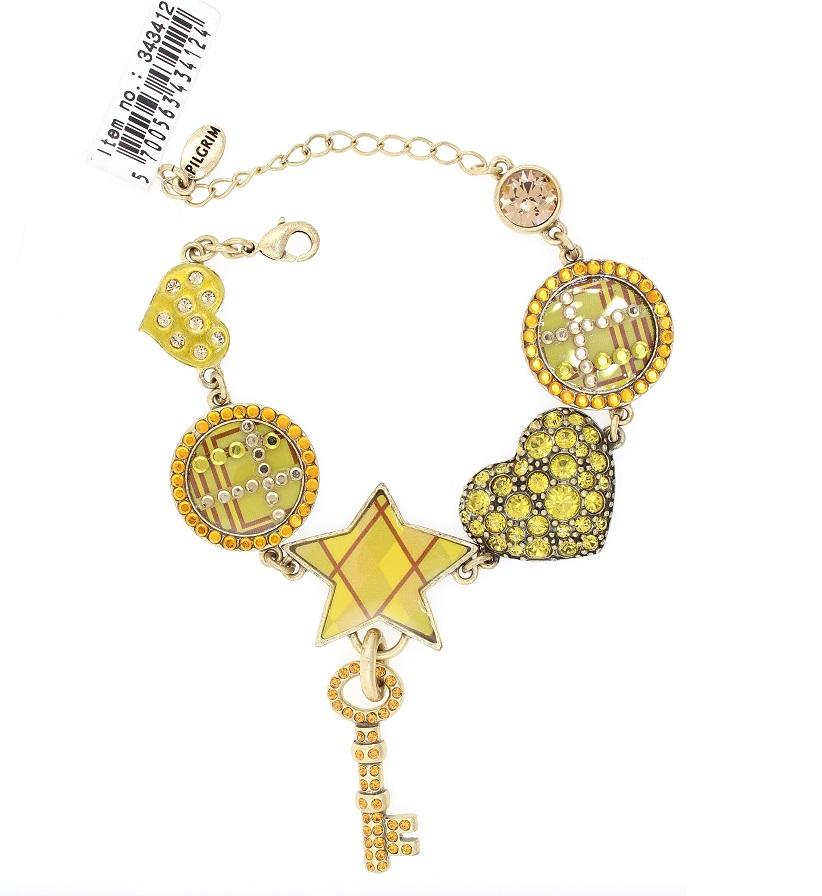 PILGRIM - HEART STAR & KEY - Bracelet - Gold/Amber/Green - BNWT