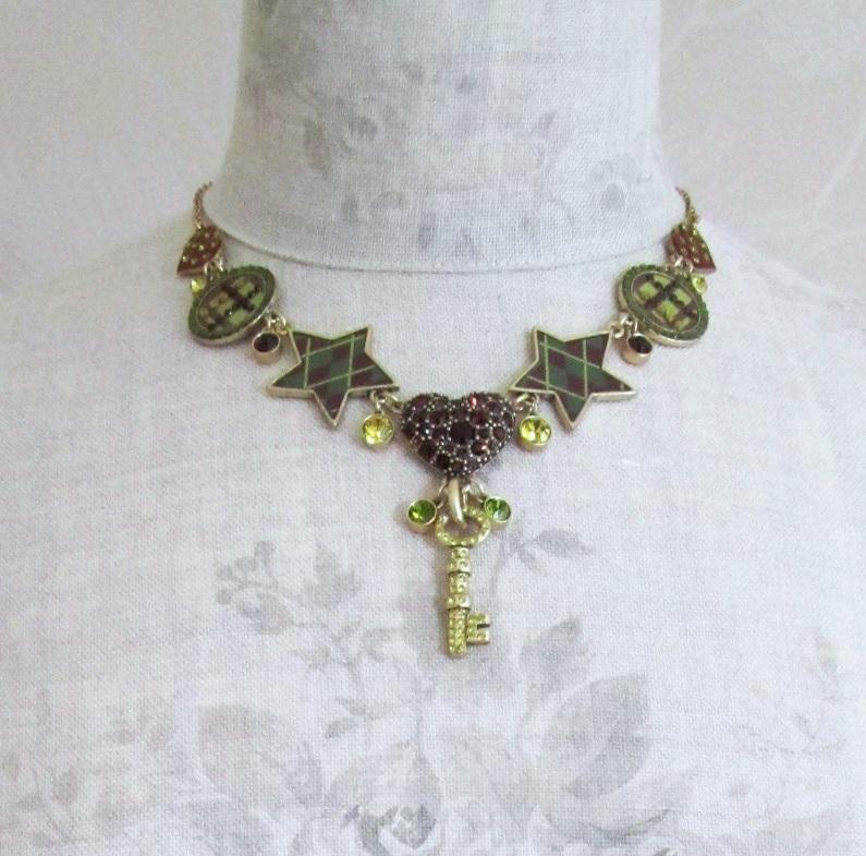 PILGRIM - HEART STAR & KEY - Necklace - Gold/Burgundy/Green - BNWT