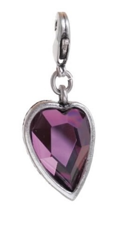A & C - Faceted PURPLE Crystal Heart Charm Silver Plate