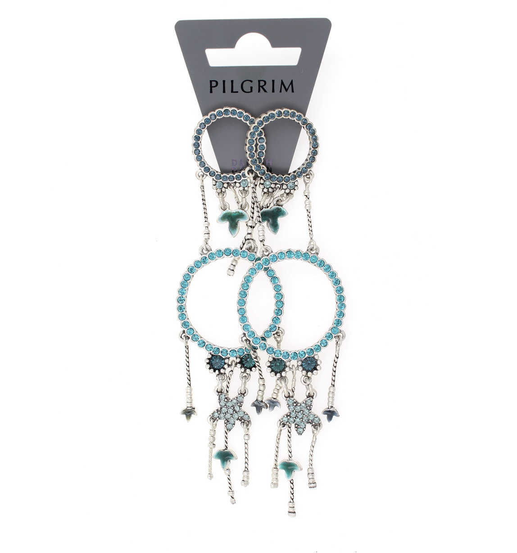 PILGRIM - Circle Line - Double Circle Earrings Oxidised Silver/Blue Swarovski BNWT