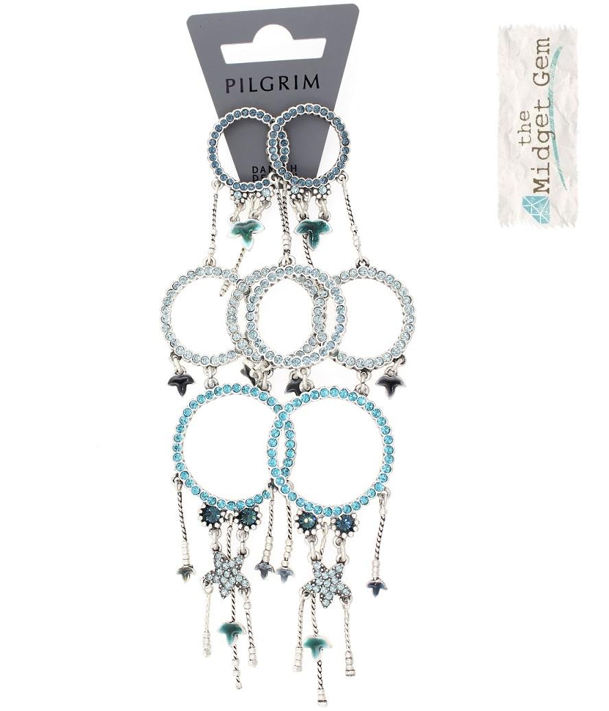 PILGRIM - Circle Line - Earrings Oxidised Silver/Blue Swarovski BNWT