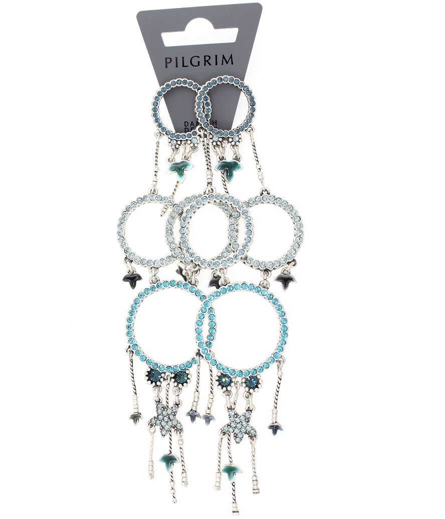 PILGRIM - Circle Line - Earrings Oxidised Silver/Blue Swarovski BNWT