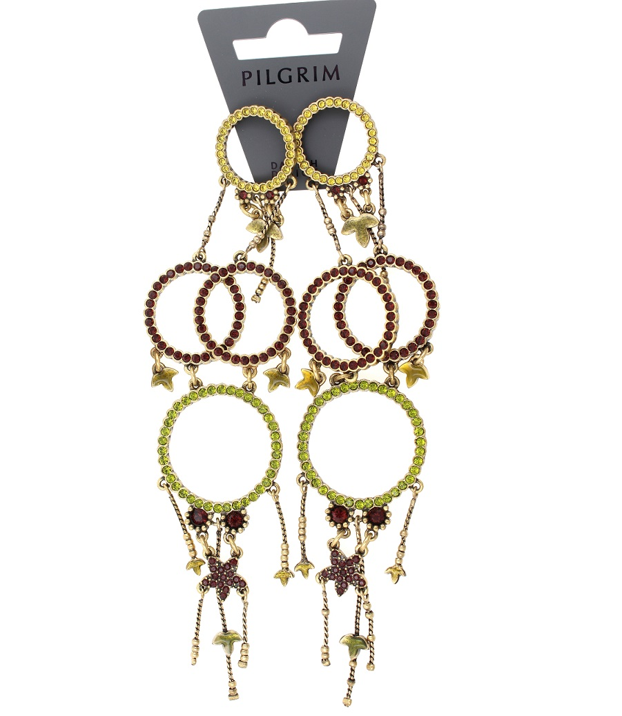 PILGRIM - Circle Line - Earrings Oxidised Gold/Olivine Green & Burgundy Swarovski BNWT