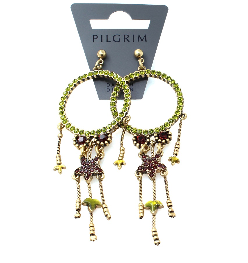 PILGRIM - Circle Line - Earrings Oxidised Gold/Olivine Green Swarovski BNWT