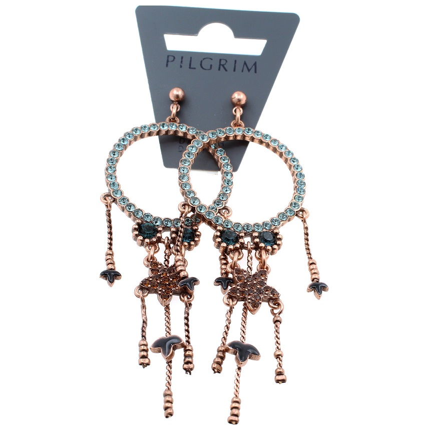 PILGRIM - Circle Line - Earrings Oxidised Copper/Blue Caramel Swarovski BNWT
