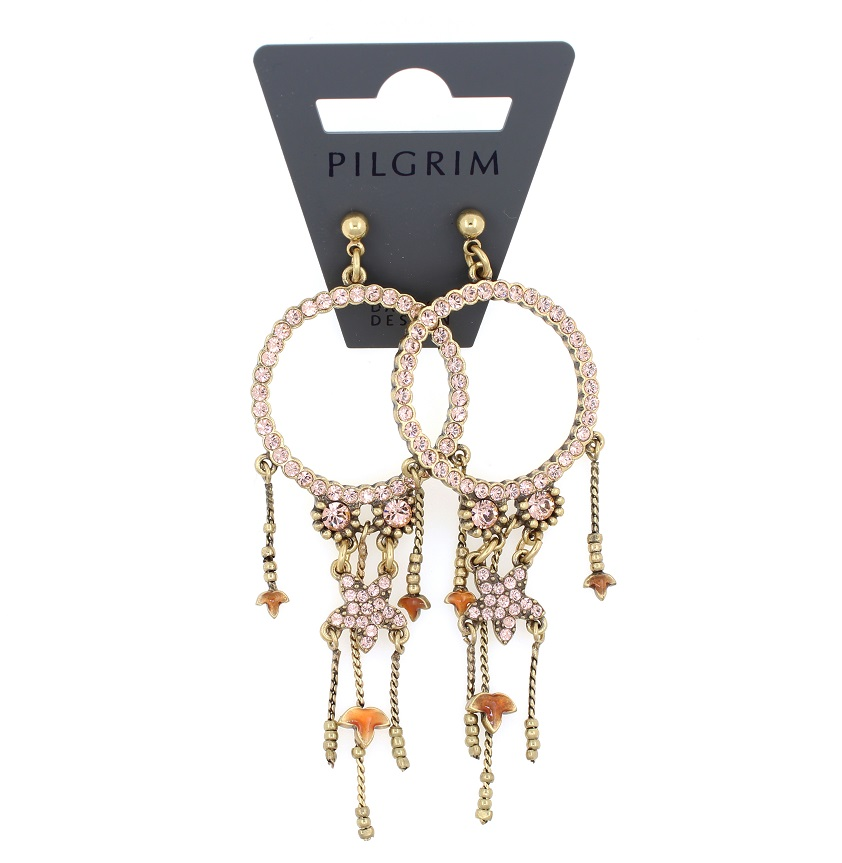 PILGRIM - Circle Line - Earrings Oxidised Gold/Vintage Rose Pink/Peach Swarovski BNWT
