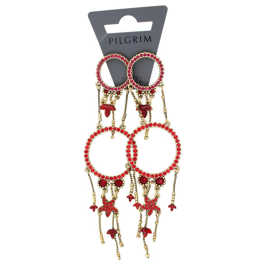 PILGRIM - Circle Line - Double Circle Earrings Oxidised Gold/Red Swarovski BNWT
