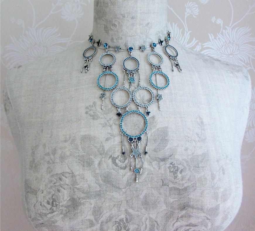 PILGRIM - Circle Line - Necklace Oxidised Silver Blue BNWT