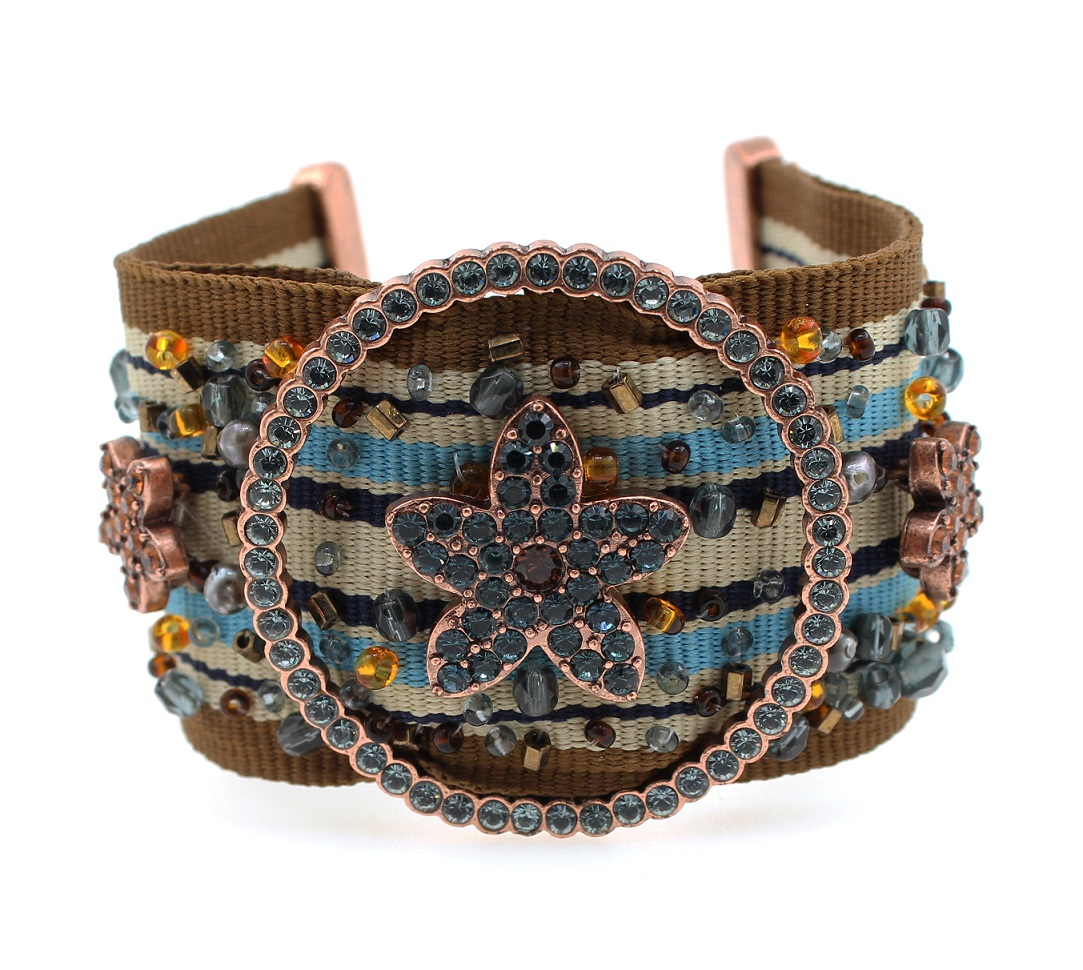 PILGRIM - Circle Line - Woven Cuff Bracelet Oxidised Copper/Blue/Brown BNWT
