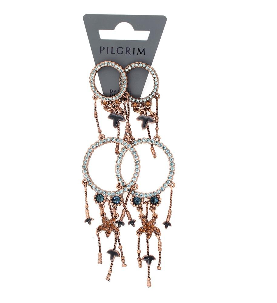 PILGRIM - Circle Line - Double Circle Earrings Oxidised Copper/Blue Swarovski BNWT
