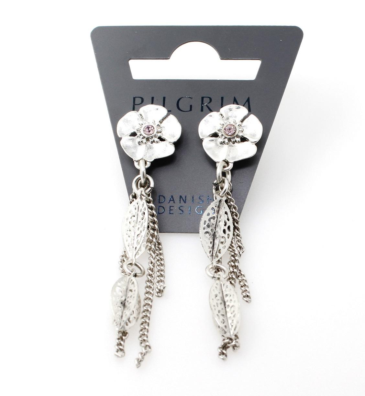 PILGRIM - Powered By - Flower Drop Earrings - Silver Plate/Purple BNWT