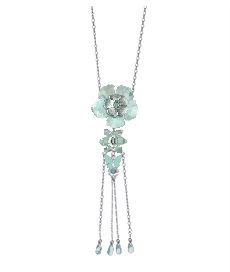 PILGRIM - Pearly Petals - Pendant Necklace - Green/Silver Plate BNWT