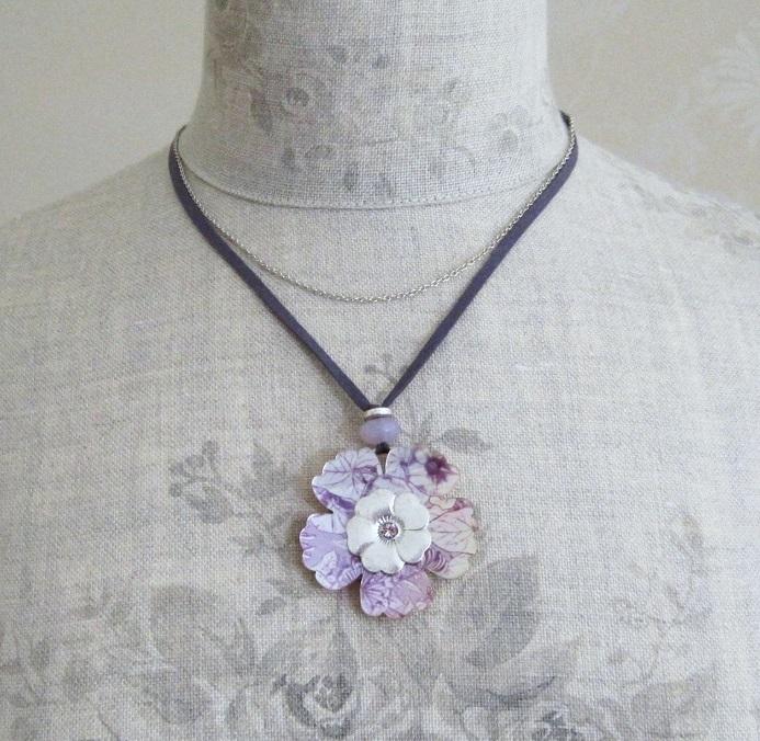 PILGRIM - Pearly Petals - Flower Pendant Necklace - Purple/Silver Plate BNWT