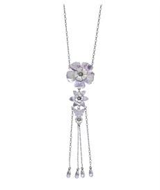 PILGRIM - Pearly Petals - Pendant Necklace - Purple/Silver Plate BNWT