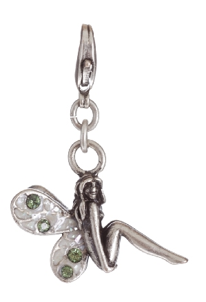 A & C - Fairy Clasp-On Charm With M.O.P Mosaic Wings Silver Plate