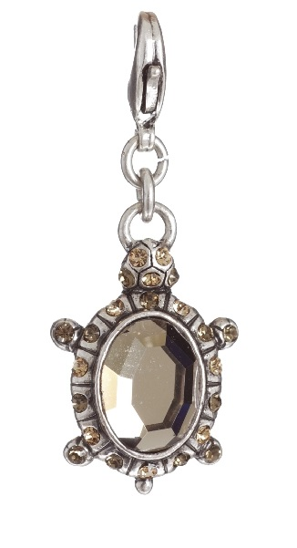 A & C - Smoked Topaz Crystal Turtle Tortoise Charm Silver Plate