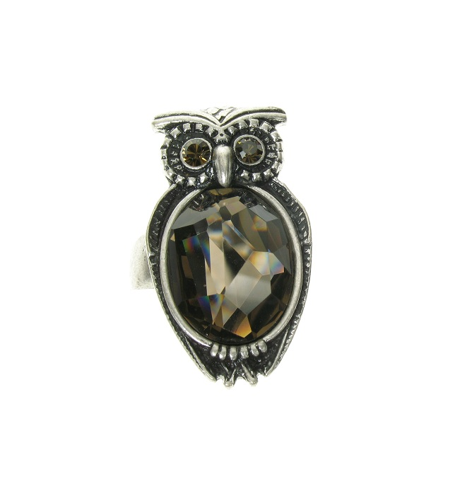 A & C Owl Adjustable Ring - Burnished Silver Plate & Hand Cut Crystal