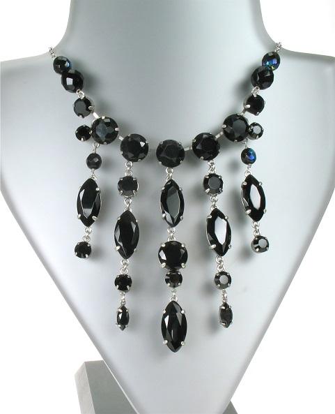 PILGRIM - Sparkling Rocks - Cascade Necklace - Silver/Black BNWT