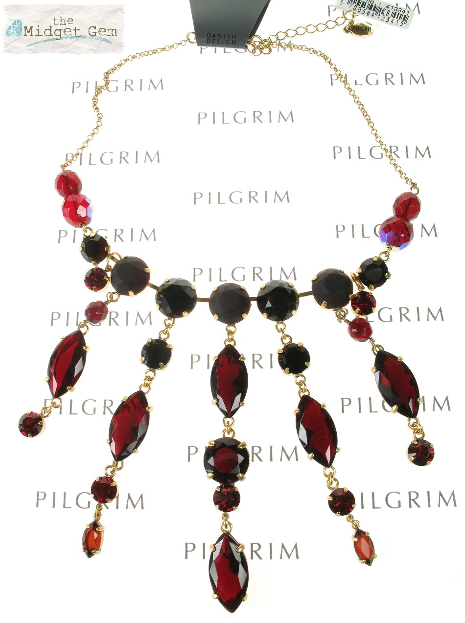 PILGRIM - Sparkling Rocks - Cascade Necklace - Gold/Red BNWT