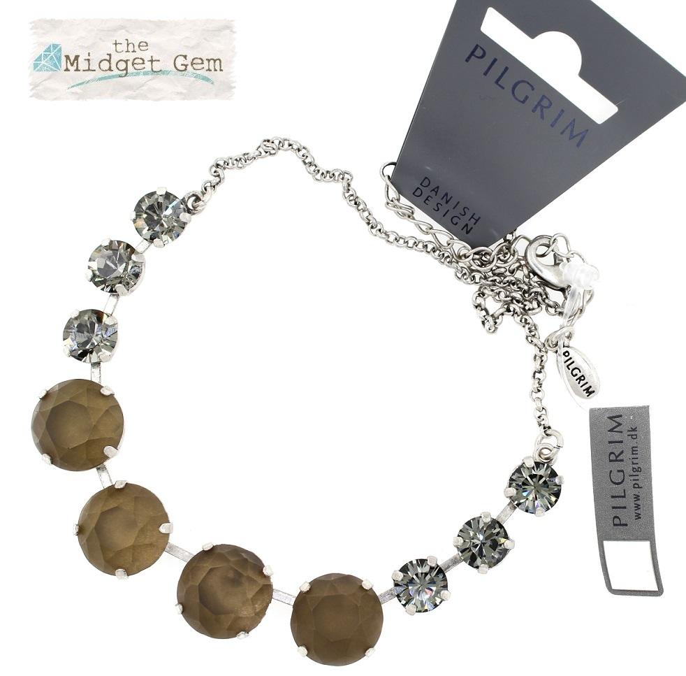 PILGRIM - Sparkling Rocks - All-Round Necklace - Silver/Grey BNWT
