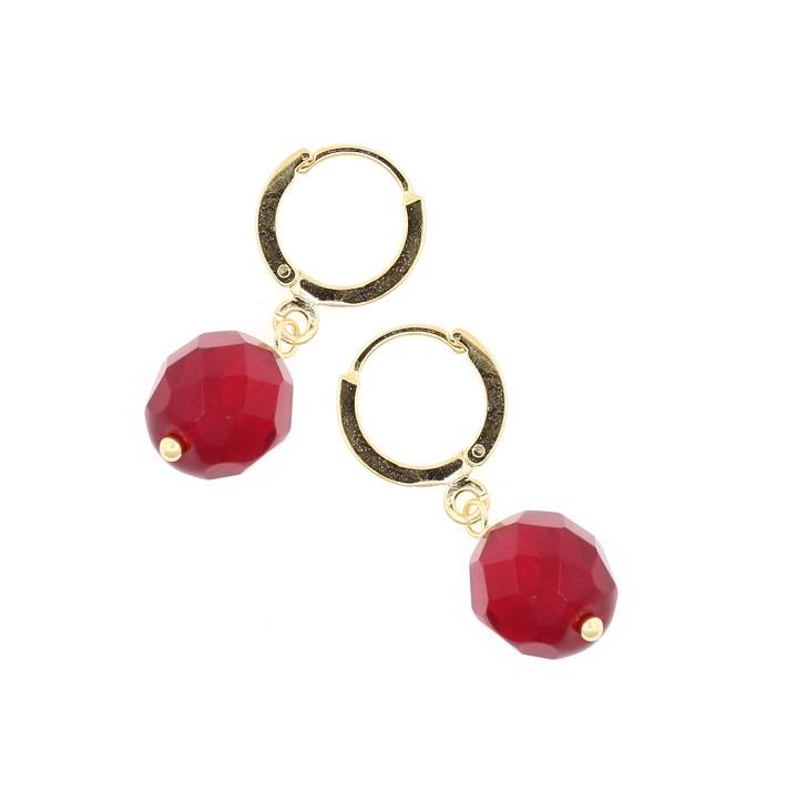 PILGRIM - Sparkling Rocks - Earrings - Gold/Red BNWT