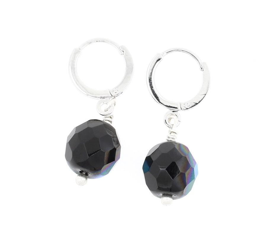 PILGRIM - Sparkling Rocks - Earrings - Silver/Black BNWT