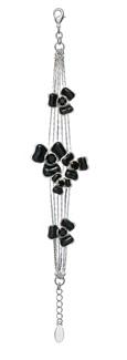PILGRIM - FLORAL CASCADE Bracelet - Silver Plate/Black Swarovski BNWT