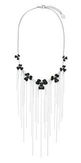 PILGRIM - FLORAL CASCADE Necklace - Silver Plate/Black Swarovski BNWT