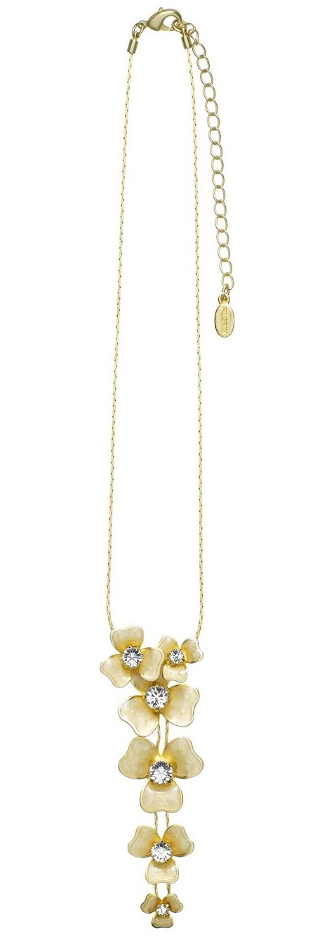 PILGRIM - FLORAL CASCADE Necklace - Gold Plate/Clear Swarovski BNWT