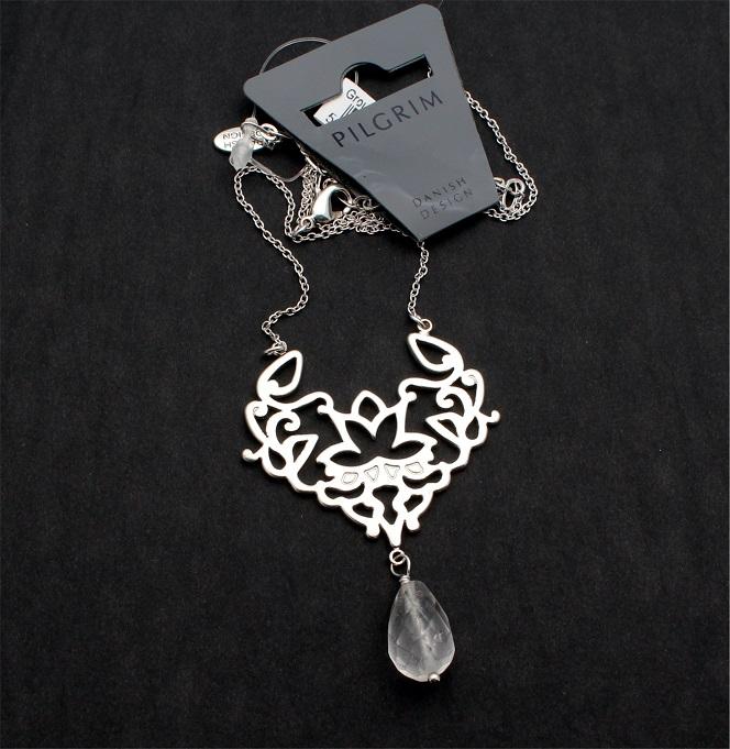 PILGRIM Oriental Pendant Necklace Silver Plate & Clear Quartz Drop BNWT