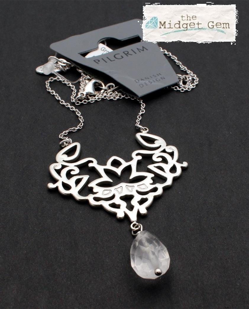 PILGRIM - Oriental - Pendant Necklace - Silver Plate & Clear Quartz Drop BNWT