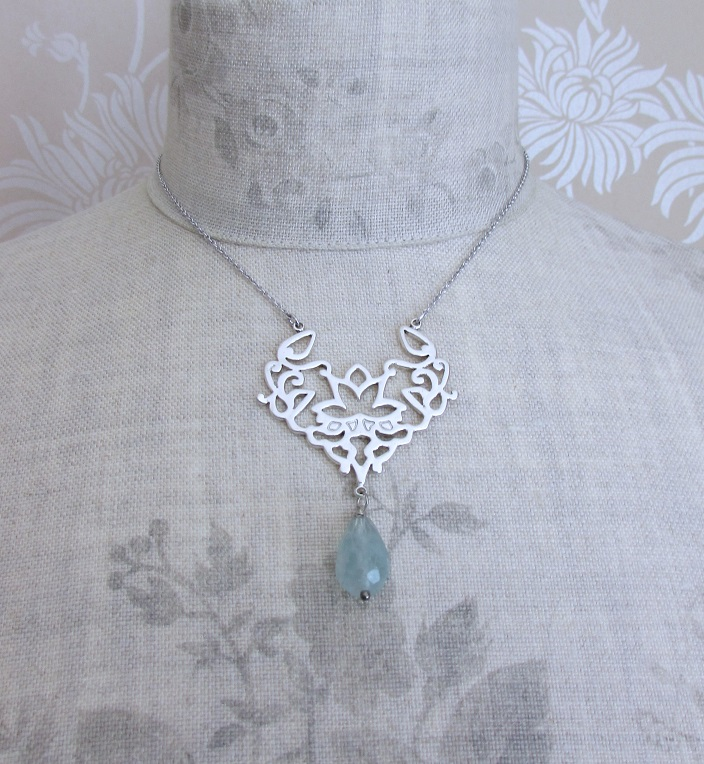 PILGRIM - Oriental - Pendant Necklace - Silver Plate & Green Amazonite Drop BNWT
