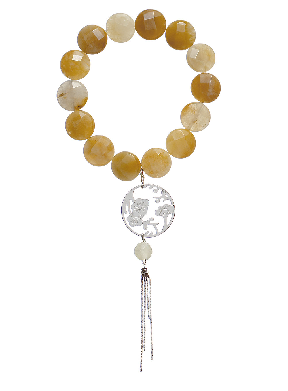 PILGRIM - Oriental - Bracelet Caramel Quartz & Silken Silver Plate BNWT
