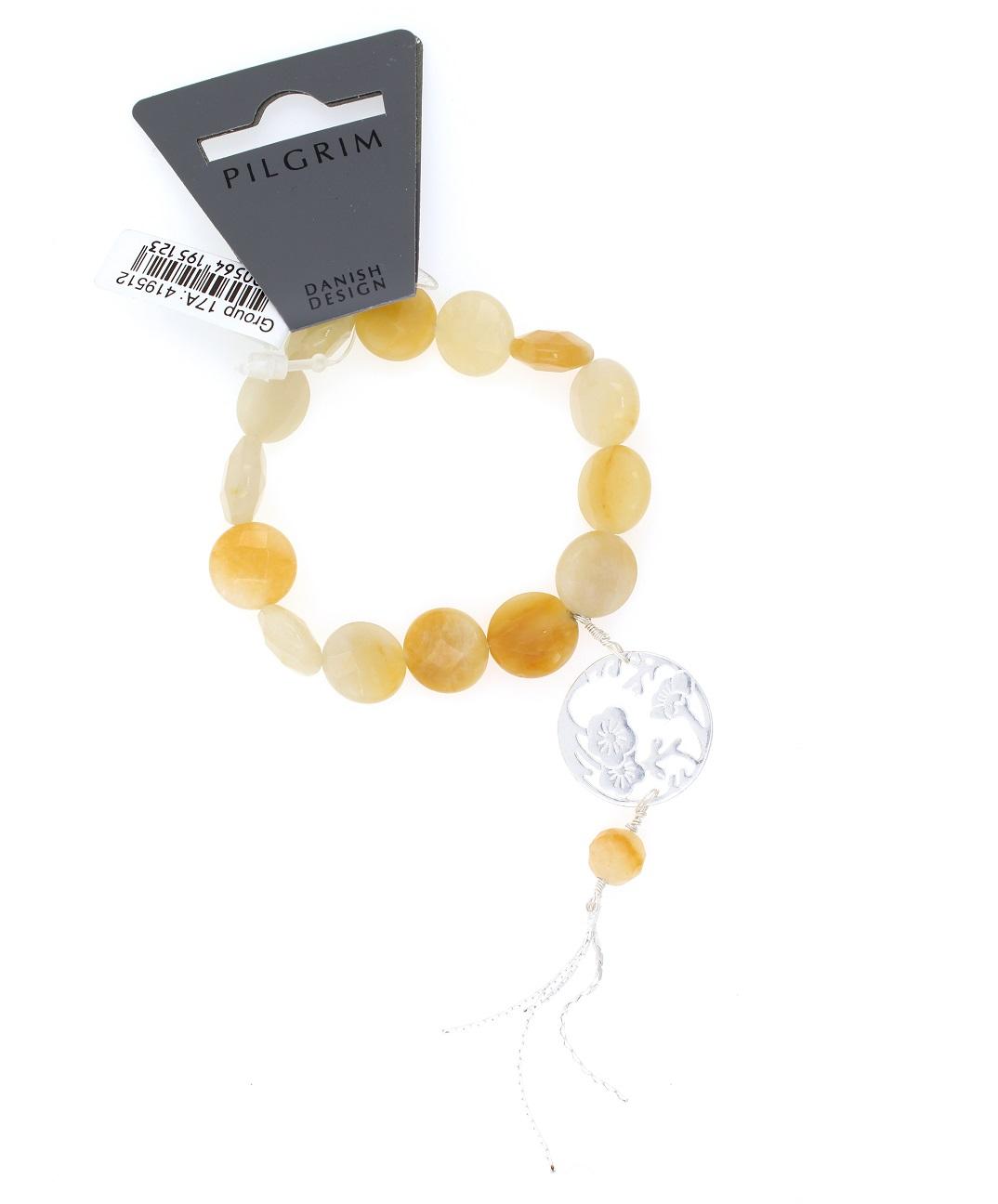 PILGRIM Oriental Bracelet Caramel Quartz & Silken Silver Plate BNWT